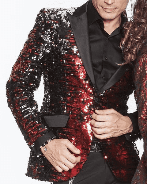 sequins blazer red black silver peak lapel, single breast, structured,  angle pockets, four button sleeve, kissing sleeve placement, fully lined, english vent,