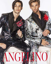 Sequin Suits for men, black with black satin lapel - 3 - ANGELINO