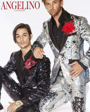 Sequin suits for men, two models in Black and silver sequin suits