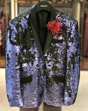 Sequin Blazer for men Matte purple with black lapel