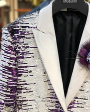 sequin Blazer, white and purple with white lapel - close up