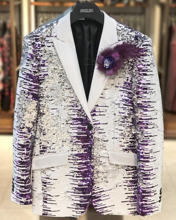 sequin Blazer, white and purple with white lapel