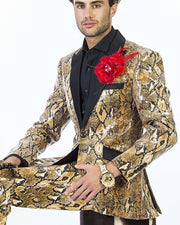 Sequins blazer for men with snake Print and black lapel, tuxedo Jacket