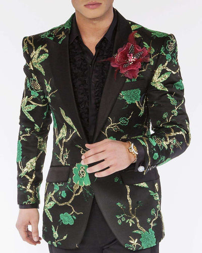 Fashion blazer black body green and gold flowers.