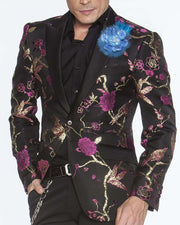 Men's Fashion Lapel Flower- Flower3 BLue - ANGELINO