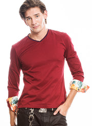 Mens T shirt - Long Sleeve T shirt - Cotton T shirt - Long Flower T shirt Burgundy