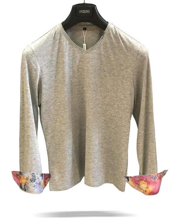 mens t shirt, long sleeve t shirt, gray t shirt
