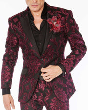 Mens suit, Burgundy prom suit with paisley motives and black lapel - ANGELINO