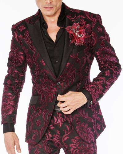 Fashion suit burgundy and black victorian motif suits with black satin lapel and pocket lapel.
