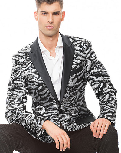Men's Tuxedo Blazer, with silver tiger design and black lapel