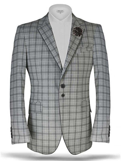Men's Plaid blazer Tropical Gray - ANGELINO