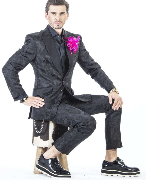 Mens fashion suit, black tuxedo for men with Jacquard paisley design fabric.