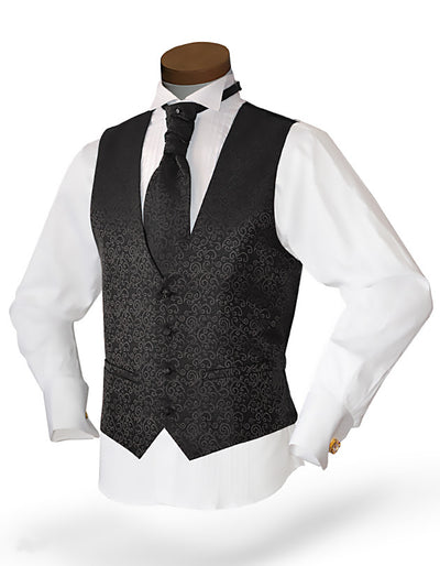 Men's Formal Vest Set - Prom - Wedding - Homecoming- Mika Black - ANGELINO