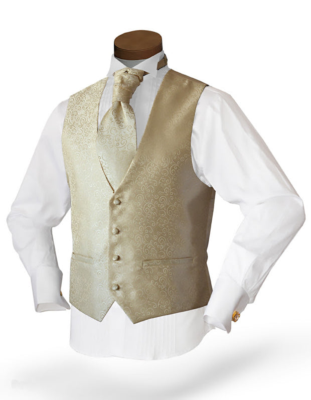 Men's Fashion Vest Set in beige color with tie - ANGELINO