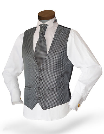 Men's Formal Vest Set - Prom - Wedding - Homecoming- Dot Gray - ANGELINO