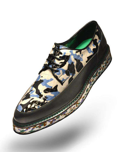 Mens' Fashion Leather Shoe's Camo Blue - ANGELINO