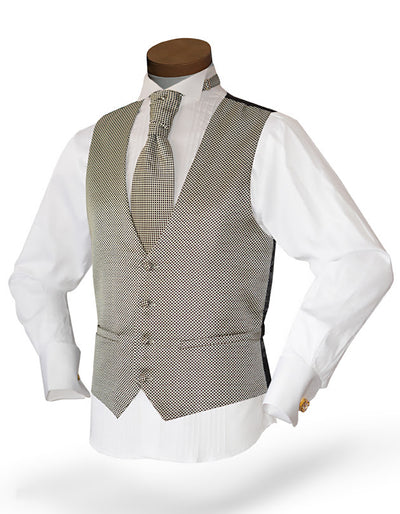 Men's Vest Set - Prom - Wedding - Homecoming- Dot Cream - ANGELINO