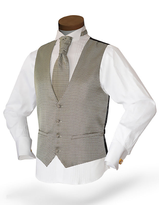 Men's Vest Set with black dots in cream background.