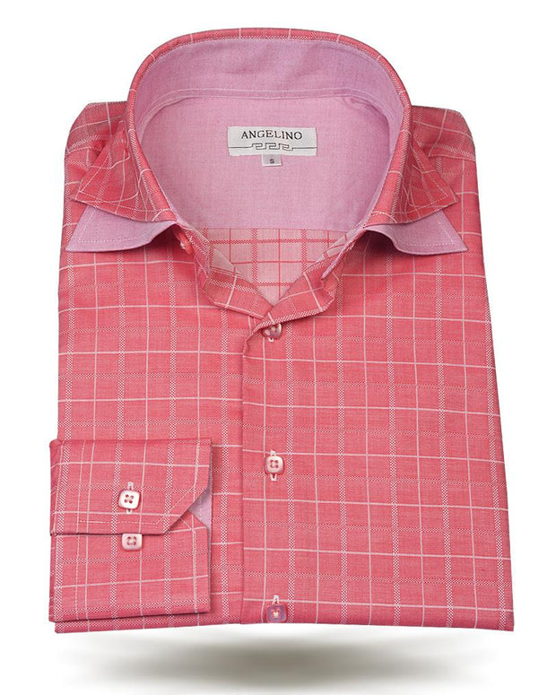 Men's Cotton Shirts - Double Collar Red - ANGELINO