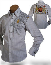 Men' Fashion shirt Lion White - ANGELINO