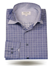 Men's Cotton Shirt - Double Collar Navy - ANGELINO