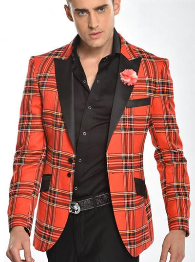 Men's Fashion Blazer Xmas with red check design