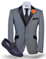 Tuxedo Blazer, V. Collar Gray - Prom - Wedding - ANGELINO