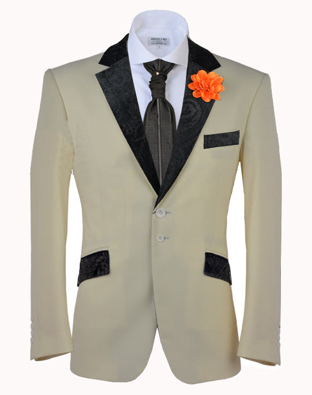 Tuxedo Blazer, V. Collar Off-White - Prom - Wedding - ANGELINO