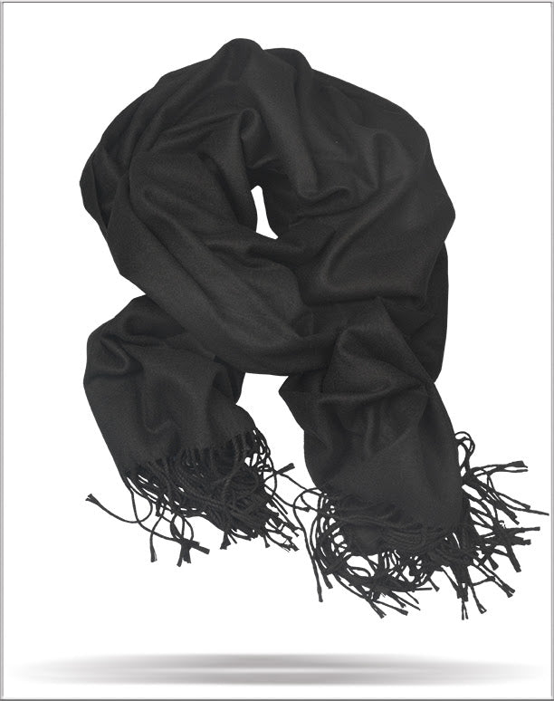 Men's Solid Scarf Black - ANGELINO