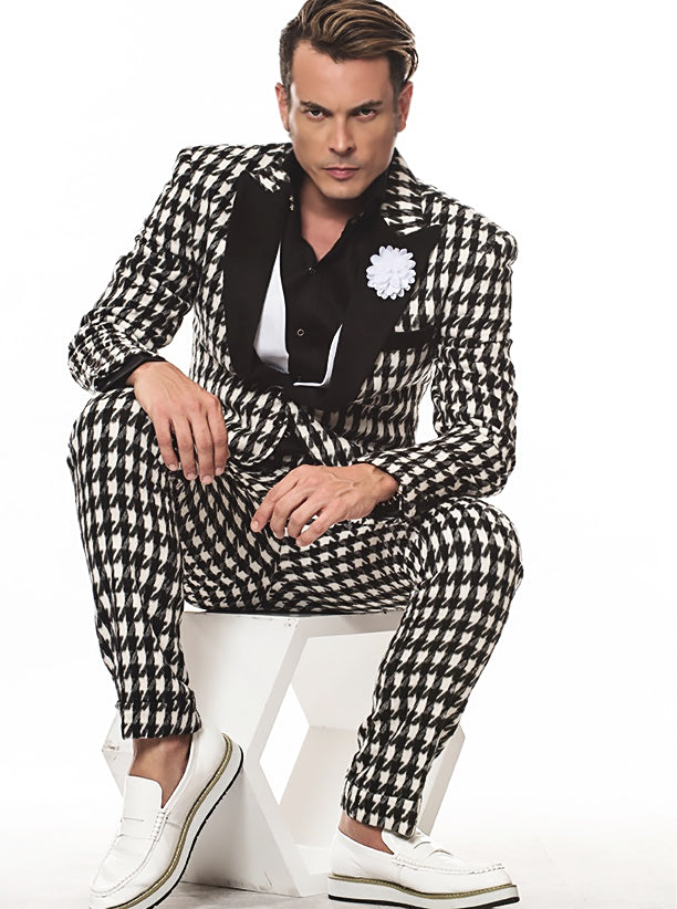 Prom Suits Houndstooth White and Black - Fashion Suits for Men - ANGELINO