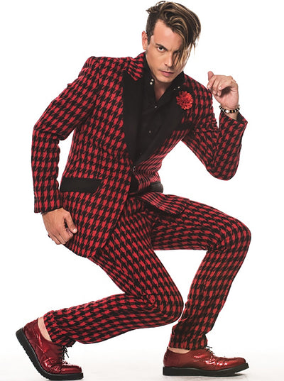 Prom Suits Houndstooth Red - Fashion Suits for Men - ANGELINO