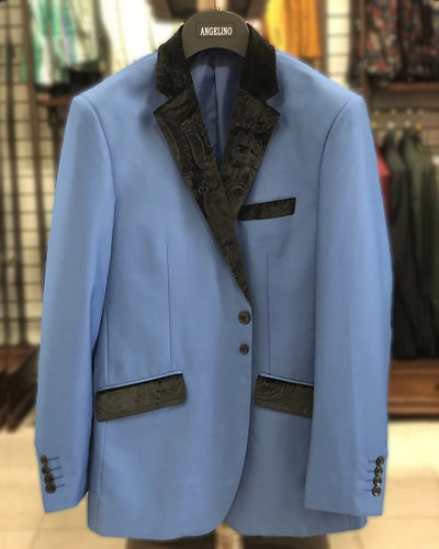 Men's Solid Blazer - VC Quilt Blue - Tuxedo blazer - Dinner Jacket - ANGELINO
