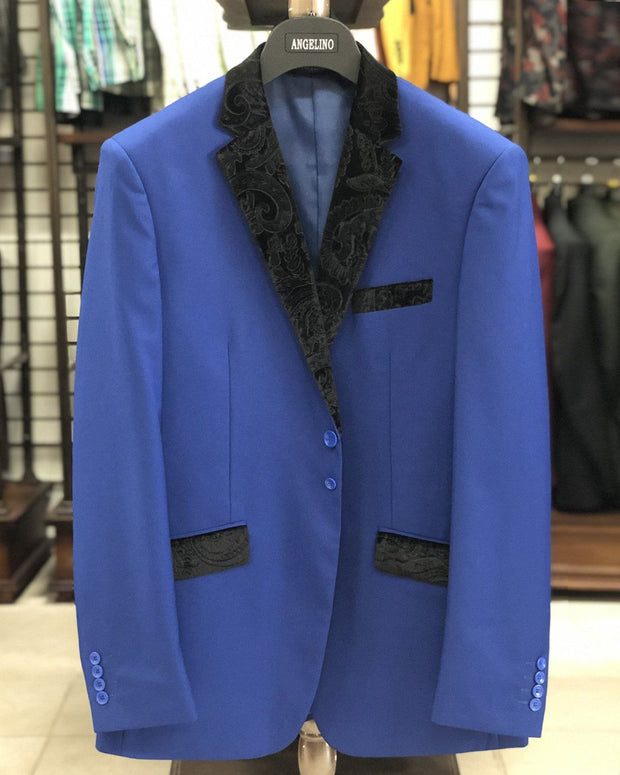 Men's Solid Blue Blazer  - Tuxedo - ANGELINO
