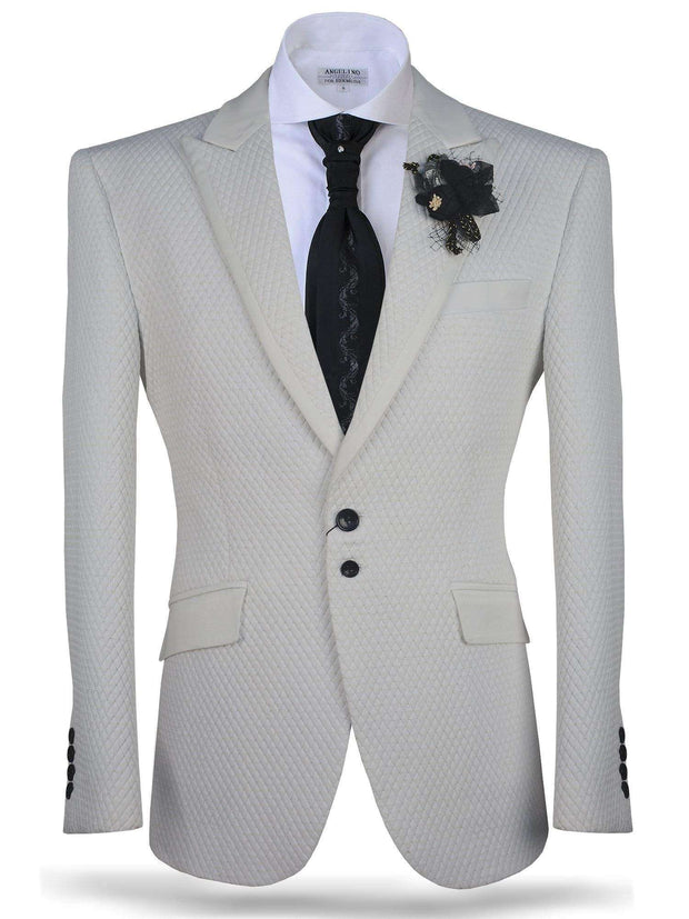 Blazer for men, Vito White & Gold - Fashion - tuxedo -  Prom - ANGELINO