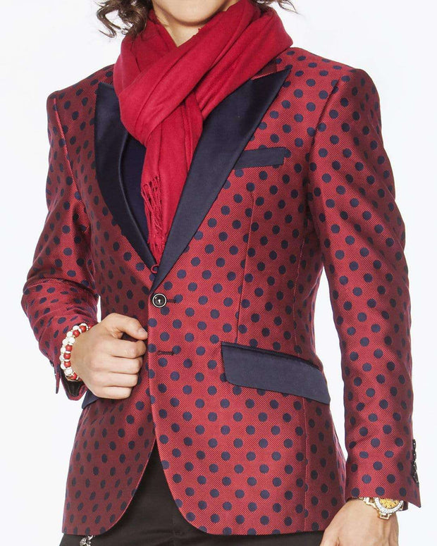 Fashion Blazer and Sport Coat W. Dot  Burgundy w/ Navy Dots - ANGELINO