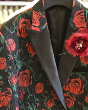 blazer for men, black with red roses and green leaves. Zoomed
