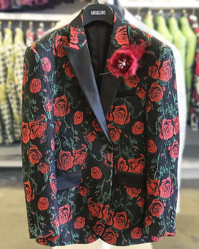 blazer for men, black with red roses and green leaves.