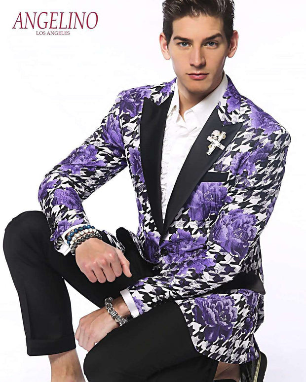 Men's blazer Black Hounds with Purple Flower Motifs | ANGELINO