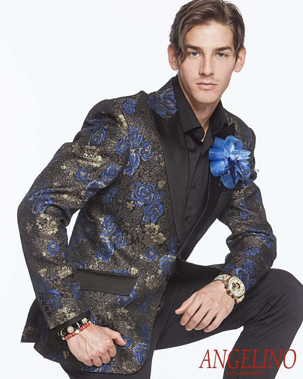 Men's Fashion Lapel Flower- Flower4 Blue - ANGELINO