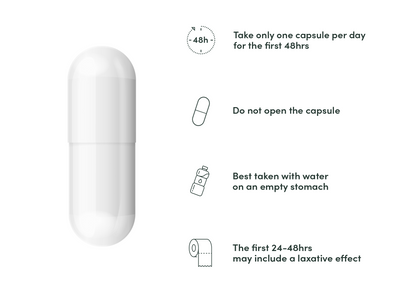 A Calocurb pill on a white background, next to a list of basic instructions.