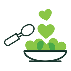 cook what you love to eat - like this bowl of green hearts