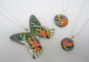 Madagascan Sunset Moth Sterling Silver Pendant Necklace