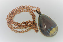 Mourning Cloak Butterfly Teardrop Pendant Necklace