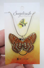 Checkerspot Butterfly Resin Necklace