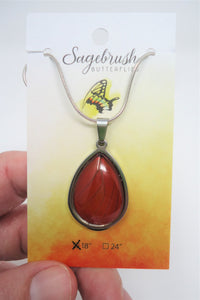 Blood Red Glider Butterfly Pendant Necklace