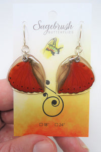 Blood Red Glider Butterfly Resin Earrings