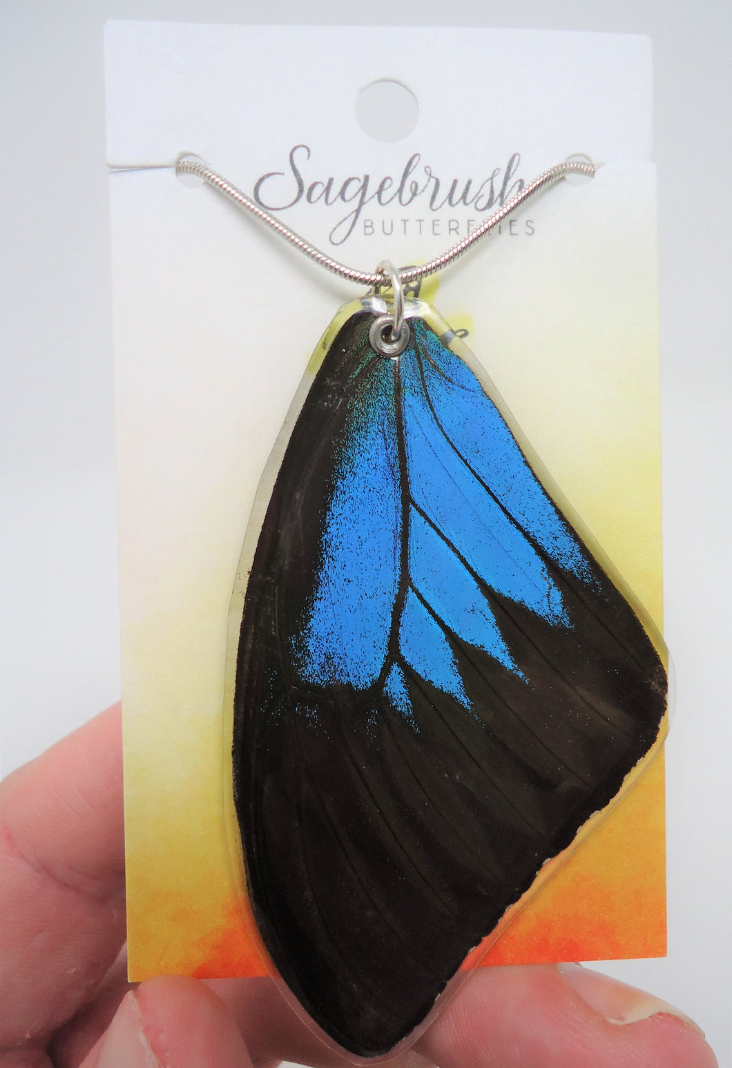 Blue Mountain Swallowtail Resin Wing Necklace