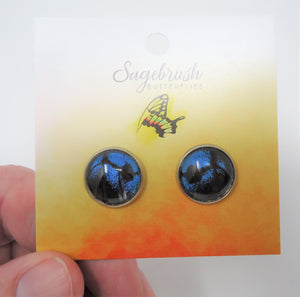 Blue Mountain Swallowtail Post Earrings