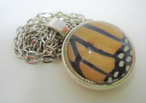 Monarch Butterfly Double Sided Pendant Necklace