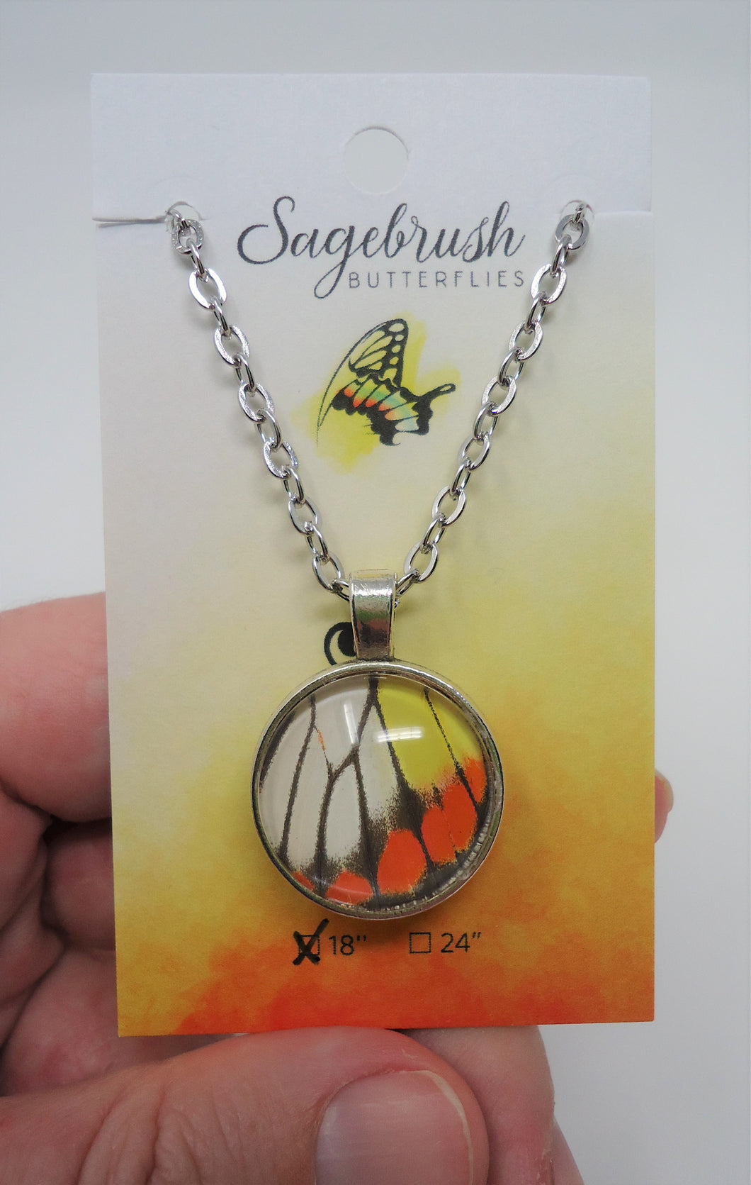 Painted Jezebel Butterfly Double Sided Pendant Necklace